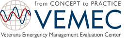 Logo for Veterans Emergency Management Evaluation Center (VEMEC). From concept to practice