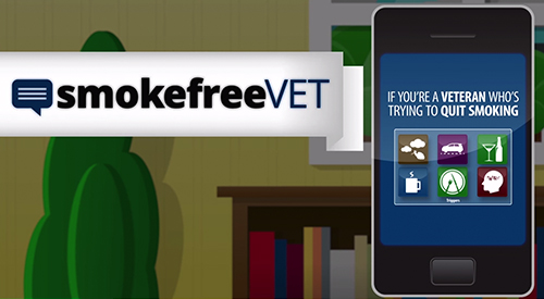 Illustration of mobile phone with text, 'If you're a Veteran who's trying to quit smoking.'