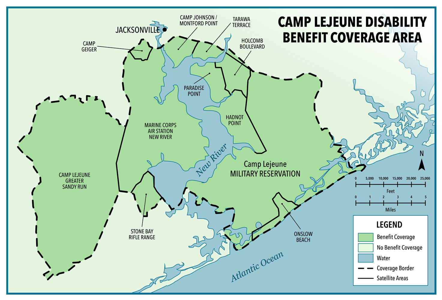 Map of disability coverage area area at Marine Corps Base Camp Lejeune