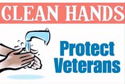 Drawing of soapy hands under running faucet. Text: Clean hands protect Veterans