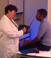 Doctor performs examination on veteran patient