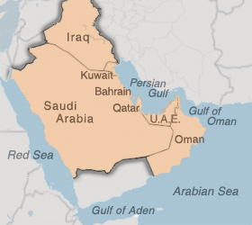 Southwest Asia theatre of military operations: Iraq, Kuwait, Saudi Arabia, Bahrain, Qatar, U.A.E., Oman, Gulf of Aden, Gulf of Oman, Persian Gulf, Red Sea, Arabian Sea