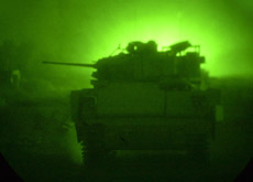 Tank seen through night vision device