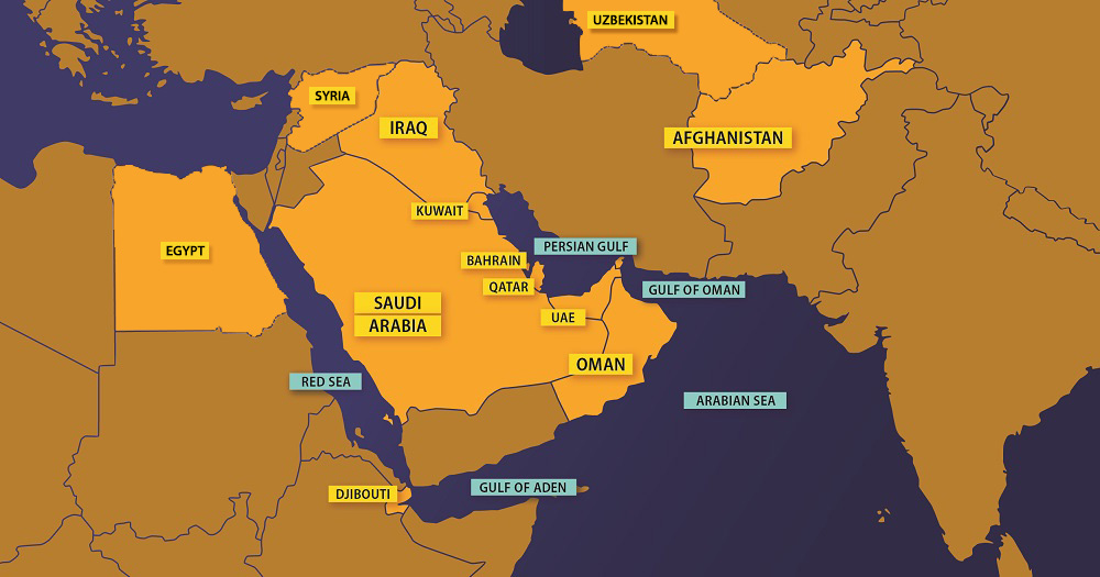 Map of Southwest Asia with countries highlighted in which burn pits were a common practice