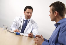 Doctor talking with a patient about registry evaluations