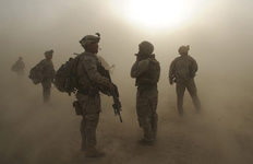Dust surrounding a group of paratroopers
