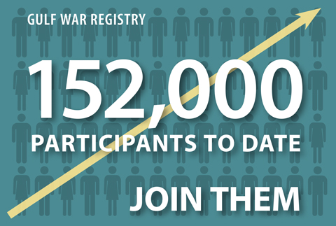 Image with following text--Gulf War Registry: 152,000 particpants to date. Join them.