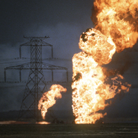 Oil well fires outside Kuwait.