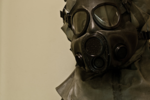 Soldier wearing a gas mask