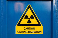 Sign: caution ionizing radiation