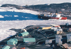 View of McMurdo Station with Coast Guard icebreaker