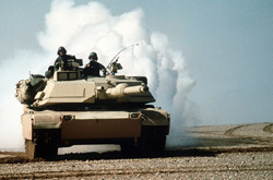 Tank lays a smoke screen during Operation Desert Storm