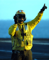 Crewmember on flight deck