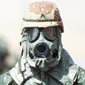 Soldier wearing gasmask