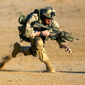 Soldier running in combat gear