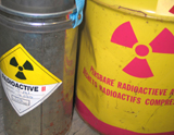 Canisters marked with radioactive material symbols